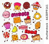 cute sweet food candy... | Shutterstock .eps vector #663899161