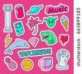 vaporwave teenager style doodle ... | Shutterstock .eps vector #663899185