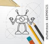 vector blueprint retro robot... | Shutterstock .eps vector #663900121