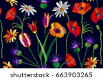 colorful summer field. seamless ... | Shutterstock .eps vector #663903265