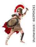 ancient warrior or gladiator... | Shutterstock . vector #663904261