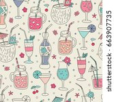 seamless pattern with hand... | Shutterstock .eps vector #663907735