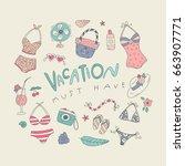summer and tropics doodle set | Shutterstock .eps vector #663907771