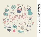 summer and tropics doodle set   Shutterstock .eps vector #663907774
