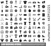 100 boxing icons set in simple... | Shutterstock .eps vector #663911221