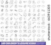 100 children s leisure icons...   Shutterstock .eps vector #663911305