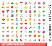 100 catering icons set in... | Shutterstock .eps vector #663911401