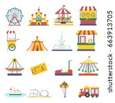 amusement park elements... | Shutterstock .eps vector #663913705