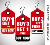 buy one get one free  buy two... | Shutterstock .eps vector #663915415