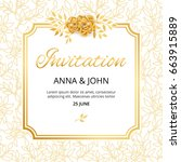 gold flower wedding paper... | Shutterstock .eps vector #663915889