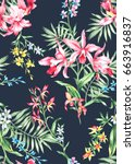 Stock photo seamless hand painted in watercolor exotic orchids flower pattern floral delicate romantic design 663916837