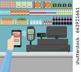pos terminal confirms payment... | Shutterstock .eps vector #663921661
