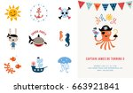 pirate birthday invitation.... | Shutterstock .eps vector #663921841