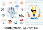 pirate party invitation. vector ... | Shutterstock .eps vector #663924151