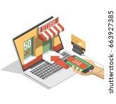 online shopping isometric... | Shutterstock .eps vector #663927385