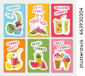 vector summer party labels set... | Shutterstock .eps vector #663930304