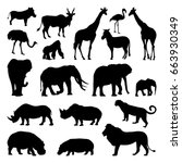 Stock vector wild african animals silhouettes set zoo vector illustrations isolate 663930349