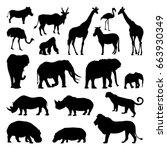 wild african animals... | Shutterstock .eps vector #663930349