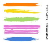 vector set of colorful strokes. ... | Shutterstock .eps vector #663936211