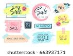 set of sale  discount stickers...   Shutterstock .eps vector #663937171