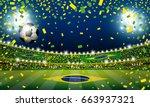 vector soccer ball in the... | Shutterstock .eps vector #663937321