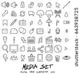 media doodle line icon vector... | Shutterstock .eps vector #663938725