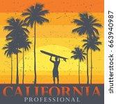 california beach  surfer poster....   Shutterstock .eps vector #663940987