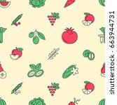 digital green red vegetable... | Shutterstock .eps vector #663944731