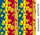 digital red blue vegetable... | Shutterstock .eps vector #663944755