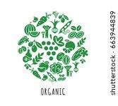 digital green vegetable icons... | Shutterstock .eps vector #663944839