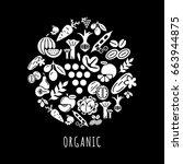 digital black vegetable icons... | Shutterstock .eps vector #663944875