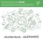 digital vector green vegetable... | Shutterstock .eps vector #663944905