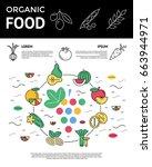 digital green red vegetable... | Shutterstock .eps vector #663944971