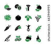 digital green black vegetable... | Shutterstock .eps vector #663944995
