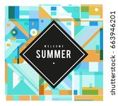 trendy vector summer cards... | Shutterstock .eps vector #663946201