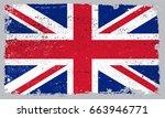grunge uk flag.vector british... | Shutterstock .eps vector #663946771