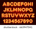 red fluorescent neon font on... | Shutterstock .eps vector #663947041