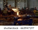 heavy industry welder at work   ... | Shutterstock . vector #663947197