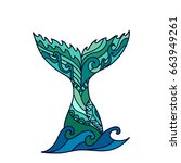 hand drawn ornamental mermaid's ... | Shutterstock .eps vector #663949261