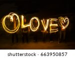 people are creating love in... | Shutterstock . vector #663950857