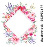 watercolor floral frame. hand... | Shutterstock . vector #663951679