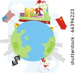 santa claus delivering gifts... | Shutterstock .eps vector #66396223