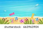 aerial view of summer beach in... | Shutterstock .eps vector #663963904