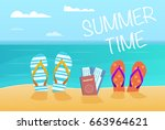 summer flip flops  passports...   Shutterstock .eps vector #663964621