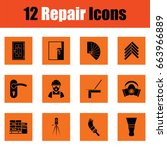 set of flat repair icons.... | Shutterstock .eps vector #663966889