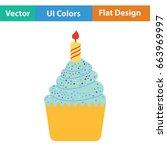 first birthday cake icon. flat...