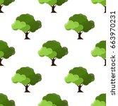 leaves of green trees seamless... | Shutterstock .eps vector #663970231