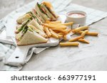 food. delicious sandwich on the ... | Shutterstock . vector #663977191