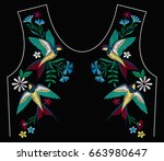 embroidery stitches with... | Shutterstock .eps vector #663980647
