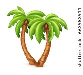 vector illustration of two palm ... | Shutterstock .eps vector #663983911
